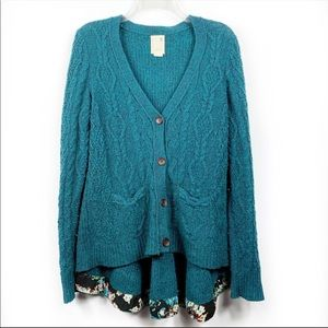 Far Away From Close Teal Fisherman Button Cardigan